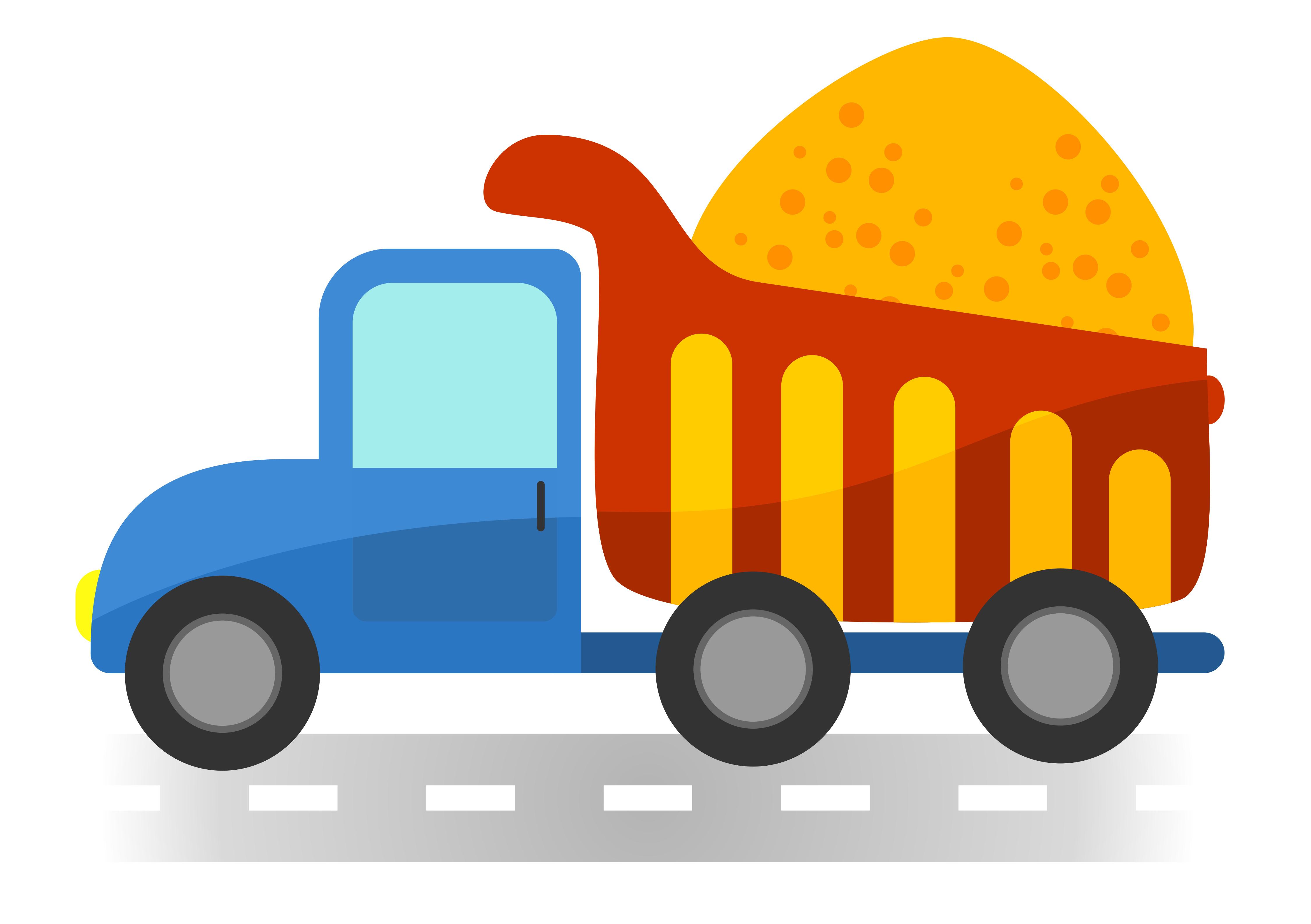 Cartoon dump truck on white background